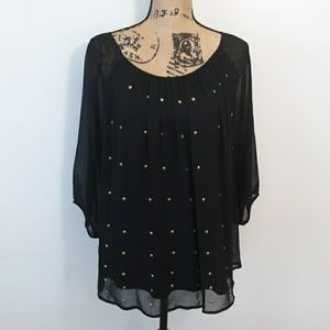 AGB Black Blouse Top with Gold Detail Size M